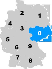 Landkarte Deutschland - Postleitzahlgebiet Region PLZ 0
