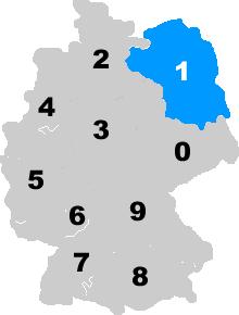 Landkarte Deutschland - Postleitzahlgebiet Region 1