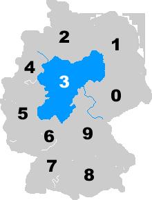 Landkarte Deutschland - Postleitzahlgebiet Region PLZ 3