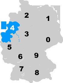 Landkarte Deutschland - Postleitzahlgebiet Region PLZ 4