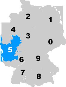 Landkarte Deutschland - Postleitzahlgebiet Region PLZ 5