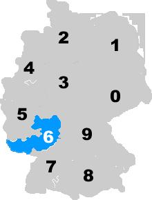 Landkarte Deutschland - Postleitzahlgebiet Region PLZ 6
