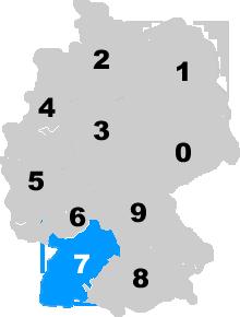 Landkarte Deutschland - Postleitzahlgebiet Region PLZ 7