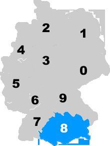 Landkarte Deutschland - Postleitzahlgebiet Region PLZ 8