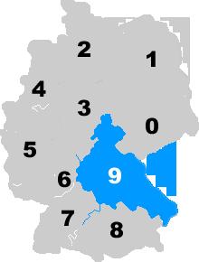 Landkarte Deutschland - Postleitzahlgebiet Region PLZ 9