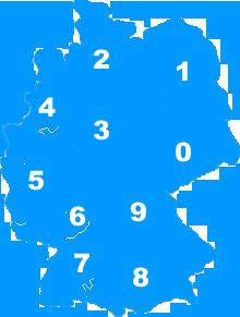 Landkarte Deutschland - Postleitzahlengebiete Regionen PLZ 0 bis 9