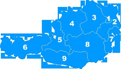 Landkarte Österreich - Postleitzahlengebiete Regionen PLZ 1 bis 9