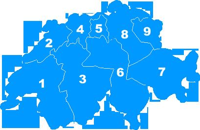 Landkarte Schweiz - Postleitzahlengebiete Regionen PLZ 1 bis 9