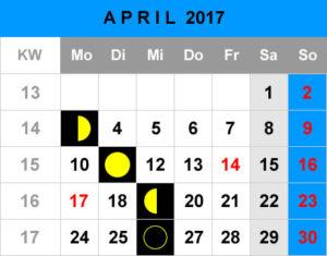 Mondphasen Kalender - April 2017