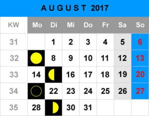 Mondphasen Kalender - August 2017