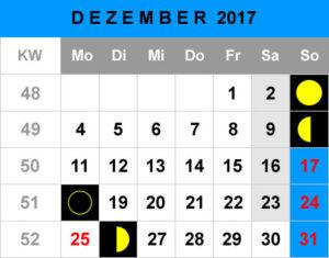 Mondphasen Kalender - Dezember 2017
