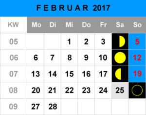 Mondphasen Kalender - Februar 2017
