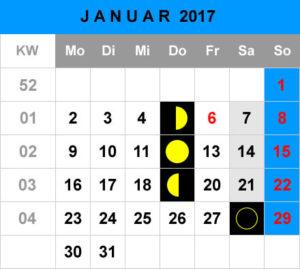 Mondphasen Kalender - Januar 2017