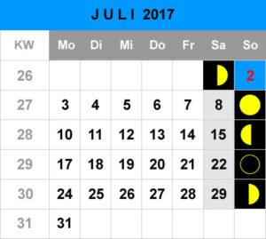 Mondphasen Kalender - Juli 2017
