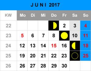 Mondphasen Kalender - Juni 2017