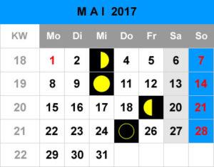 Mondphasen Kalender - Mai 2017
