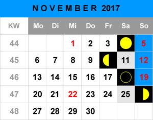 Mondphasen Kalender - November 2017