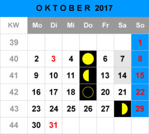 Mondphasen Kalender - Oktober 2017