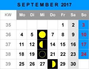 Mondphasen Kalender - September 2017