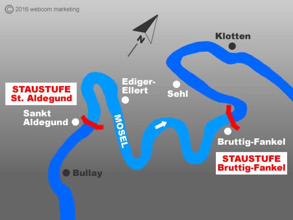 Fluss Mosel - Angelgewässer in Deutschland - Rheinland-Pfalz - Flüsse - Staustufen Bruttig-Fankel bis St. Aldegund - Foto - Landkarte