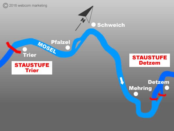 Fluss Mosel - Angelgewässer in Deutschland - Rheinland-Pfalz - Flüsse - Staustufen Detzem bis Trier - Foto - Landkarte