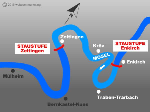 Fluss Mosel - Angelgewässer in Deutschland - Rheinland-Pfalz - Flüsse - Staustufen Enkirch bis Zeltingen - Foto - Landkarte