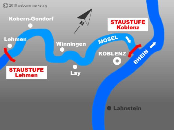 Fluss Mosel - Angelgewässer in Deutschland - Rheinland-Pfalz - Flüsse - Staustufen Koblenz bis Lehmen - Foto - Landkarte