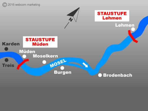 Fluss Mosel - Angelgewässer in Deutschland - Rheinland-Pfalz - Flüsse - Staustufen Lehmen bis Müden - Foto - Landkarte