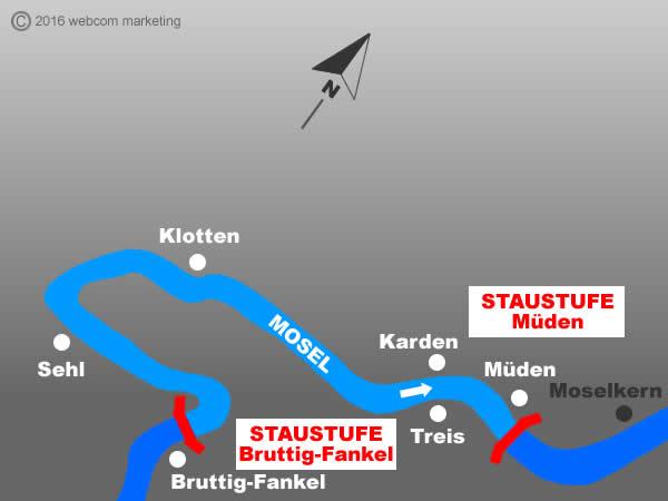Fluss Mosel - Angelgewässer in Deutschland - Rheinland-Pfalz - Flüsse - Staustufen Müden bis Bruttig-Fankel - Foto - Landkarte