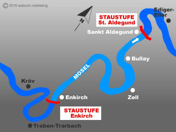 Fluss Mosel - Angelgewässer in Deutschland - Rheinland-Pfalz - Flüsse - Staustufen St. Aldegund bis Enkirch - Foto - Landkarte