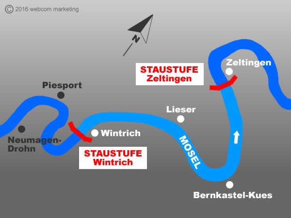 Fluss Mosel - Angelgewässer in Deutschland - Rheinland-Pfalz - Flüsse - Staustufen Zeltingen bis Wintrich - Foto - Landkarte