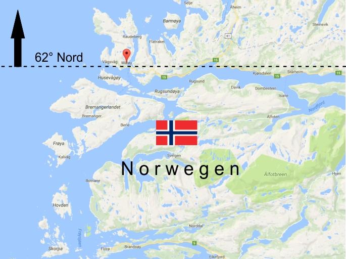 Landkarte Norwegen - 62 Grad Nord