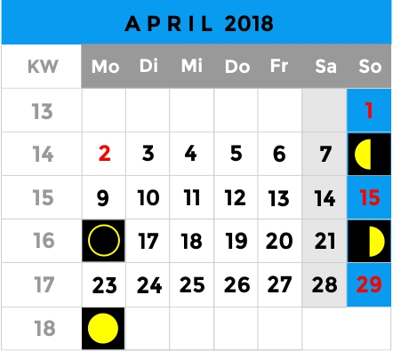 Mondphasen Kalender - April 2018