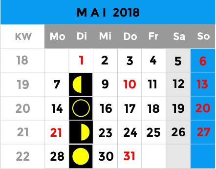 Mondphasen Kalender - Mai 2018