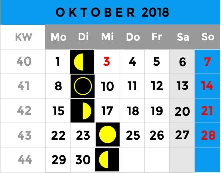 Mondphasen Kalender - Oktober 2018