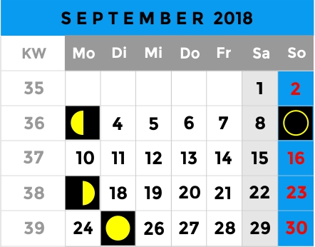 Mondphasen Kalender - September 2018