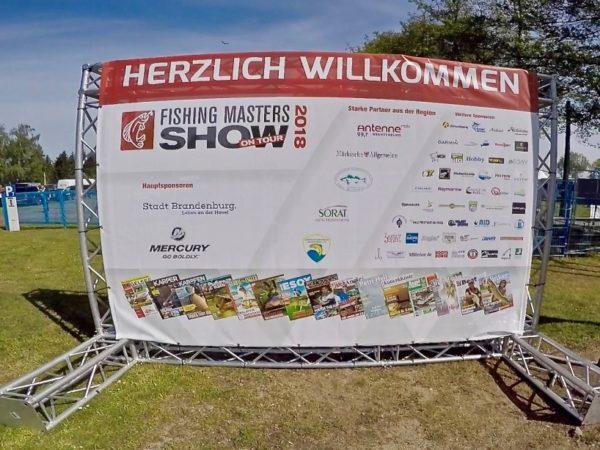 Werbebanner - Herzlich Willkommen - Fishing Masters Show 2018 - Beetzsee - Brandenburg an der Havel - Deutschland