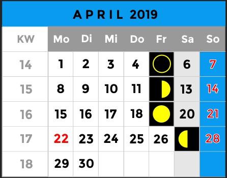 Mondphasen Kalender - Monat April 2019 - AiD Angelportal