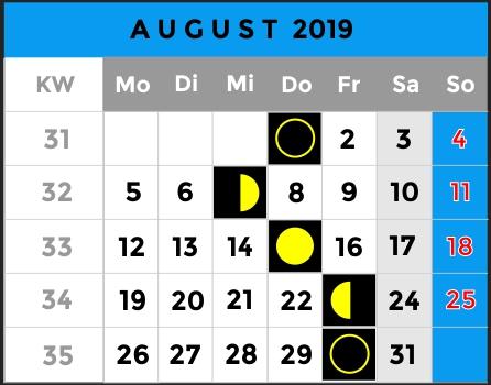 Mondphasen Kalender - Monat August 2019 - AiD Angelportal