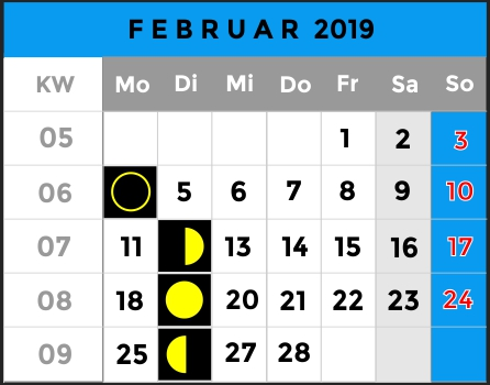 Mondphasen Kalender - Monat Februar 2019 - AiD Angelportal