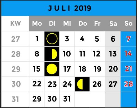 Mondphasen Kalender - Monat Juli 2019 - AiD Angelportal