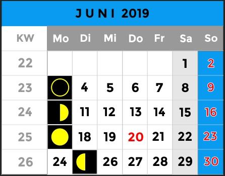 Mondphasen Kalender - Monat Juni 2019 - AiD Angelportal