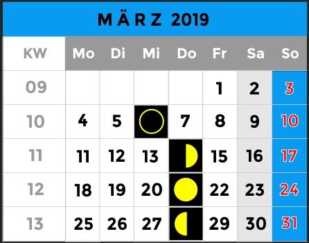 Mondphasen Kalender - Monat März 2019 - AiD Angelportal