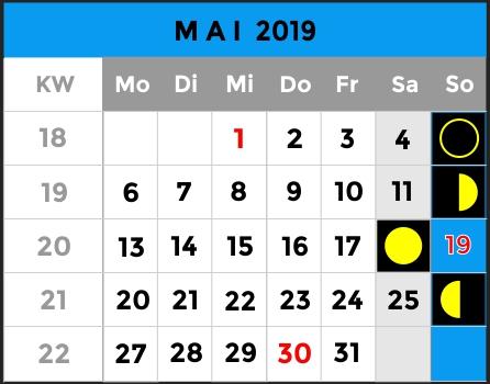 Mondphasen Kalender - Monat Mai 2019 - AiD Angelportal