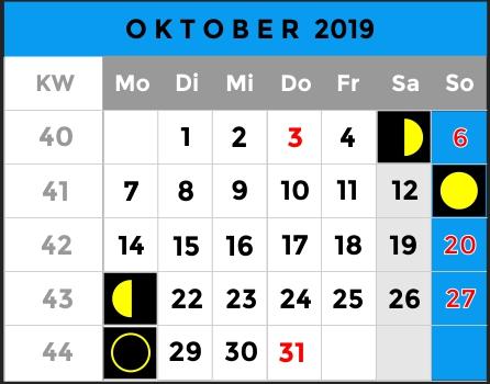 Mondphasen Kalender - Monat Oktober 2019 - AiD Angelportal