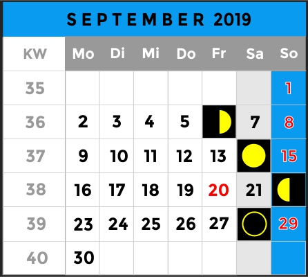 Mondphasen Kalender - Monat September 2019 - AiD Angelportal