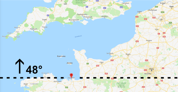 Landkarte - Frankreich - Normandie - 48 Grad - Ärmelkanal